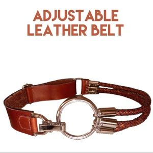Accessories - Distressed leather brown adjustable belt EUC
